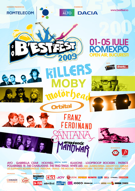 bestfest 2009: the killers, moby, motorhead, orbital, franz ferdinand, santana, manowar, patrice & others - blue proposal