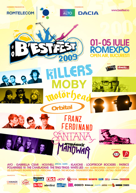 bestfest 2009: the killers, moby, motorhead, orbital, franz ferdinand, santana, manowar, patrice & others - proposal