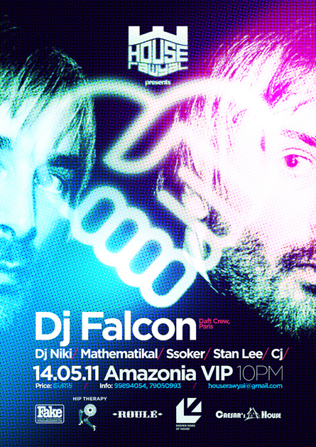 dj falcon - house rawyal - amazonia VIP, malta - flyers, posters, design