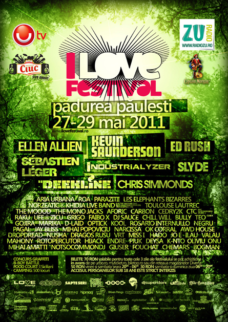 i love festival - ellen allien, kevin saunderson, sebastien leger, industrialyzer, ed rush, slyde, deekline, chris simmonds - flyers, posters, design