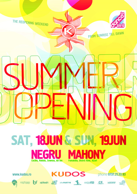 kudos beach - summer opening - negru, mahony - flyers, posters, design