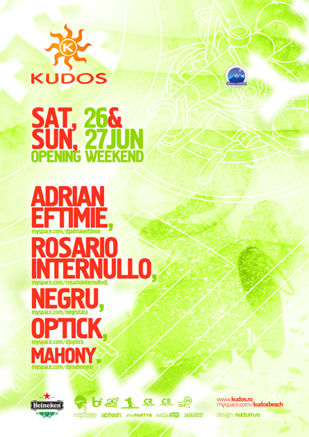 kudos beach - opening weekend - adrian eftimie, rosario internullo, negru, optick