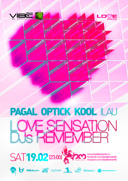 love sensation djs remember - studio martin - kool, optick, pagal - flyers, posters, design