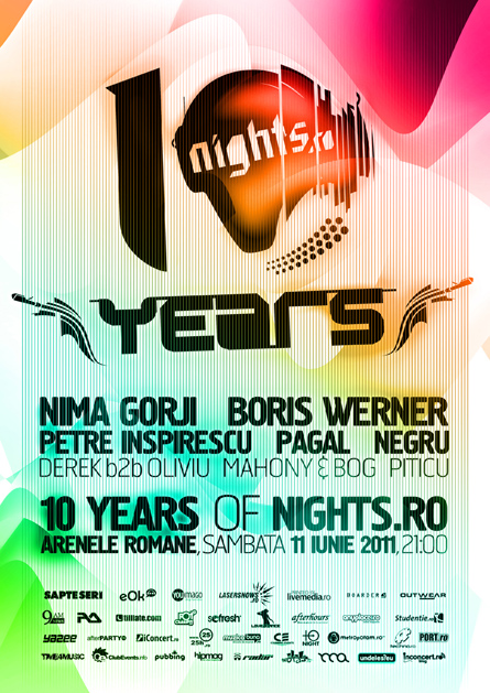 10 years of nights.ro - arenele romane -nima gorji, boris werner, petre inspirescu, pagal, negru - flyers, posters, design