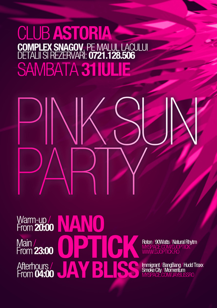 pink sun party - dj optick, jay bliss, nano