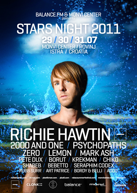 stars night 2011 - richie hawtin - minus, 2000 and one - flyers, posters, design