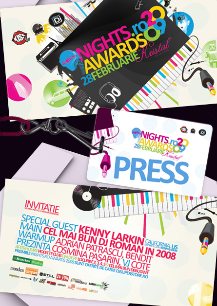 nights awards 2009 - invitatios & press badge