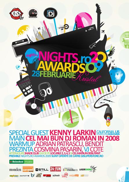 nights awards 2009, special guest kenny larkin, kristal glam club - poster & flyer