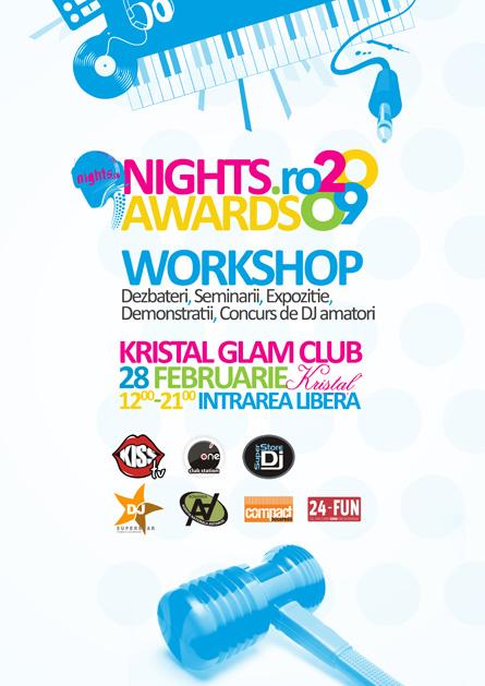 nights awards 2009 workshop, kristal glam club - poster
