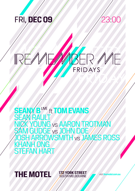 remember me fridays the motel melbourne poster design by alex tass
