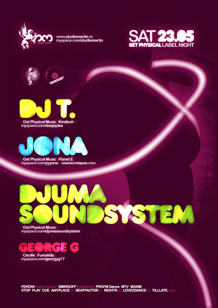 studio martin - Get Phisical label night - Dj T., Jona, Djuma Soundsystem, George G
