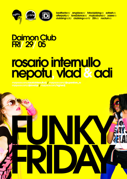 daimon club: flyer funky fridays - rosario internullo, nepotu, vlad si adi