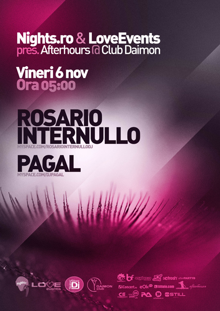 love events afterhours - rosario internullo, pagal, daimon club, 6 november
