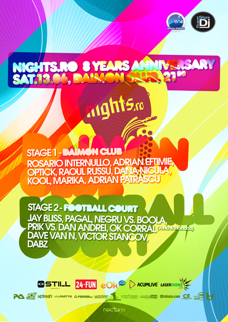 nights.ro - 8 years anniversary - daimon club - rosario internullo, adrian eftimie, optick, raoul russu, kool, marika, pagal, dave van n, jay bliss