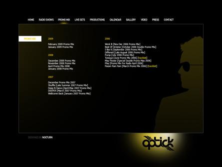 dj optick 2009 website layout proposal