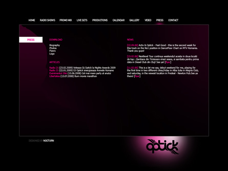 dj optick 2009 website layout proposal