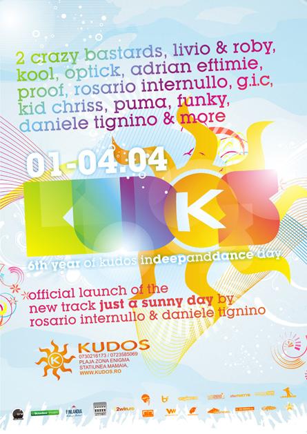 kudos beach 1 mai poster, rosario internullo, adrian eftimie, livio & roby, kool, optick, daniele tignino
