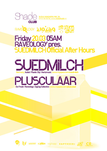 shade club - suedmilch, plusculaar - zigzag, go freak, raveology