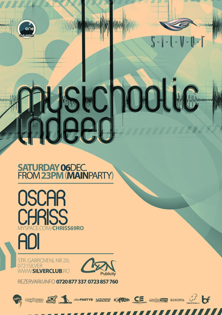 silver chriss musichoolic event, flyer & poster