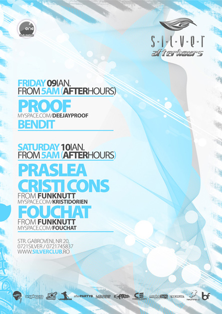 silver afterhours - praslea, proof, fouchat, cristi cons, flyer & poster