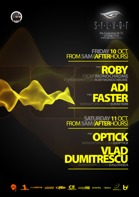 silver afterhours - roby, faster, optick, flyer & poster