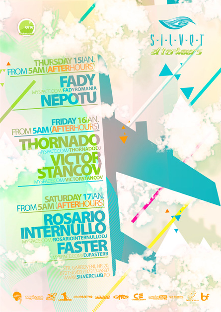 silver afterhours - rosario internullo, faster, flyer & poster