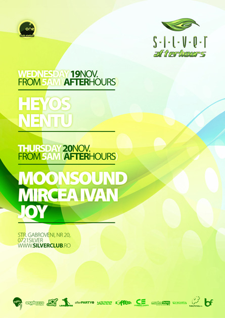 silver afterhours - moonsound, flyer & poster