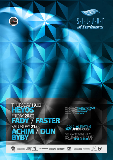 silver afterhours - faster, flyer & poster