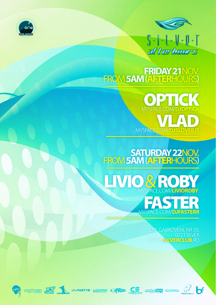 silver afterhours - optick, livio&roby, faster, flyer & poster