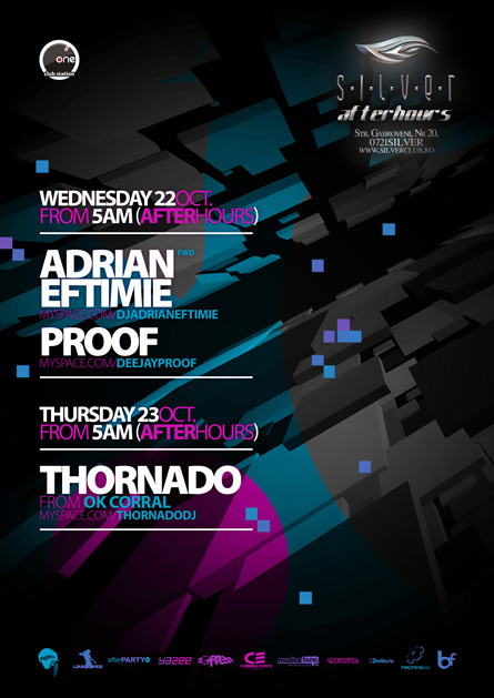 silver afterhours - adrian eftimie, thornado, proof, flyer & poster