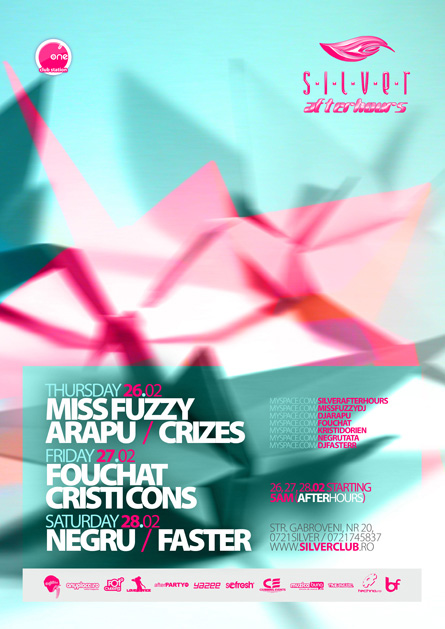 silver afterhours - miss fuzzy, fouchat, cristi cons, negru, faster, flyer & poster