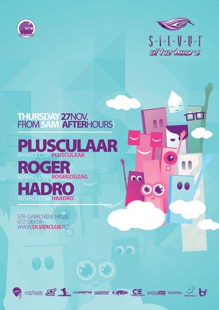 silver afterhours - plusculaar, roger, raveology, flyer & poster