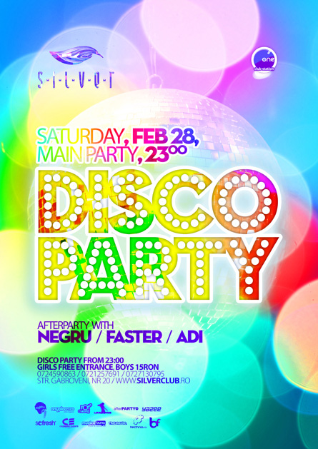 silver afterhours - disco party, flyer & poster