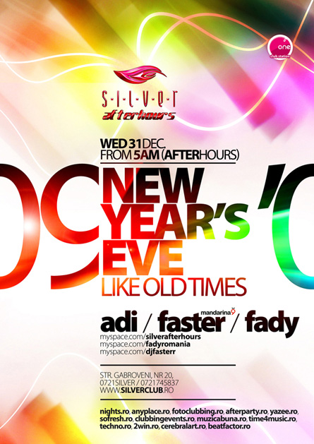 silver afterhours nye 09, flyer & poster