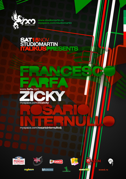 Studio Martin - Italikus Night: Francesco Farfa, Zicky, Rosario Internullo, poster