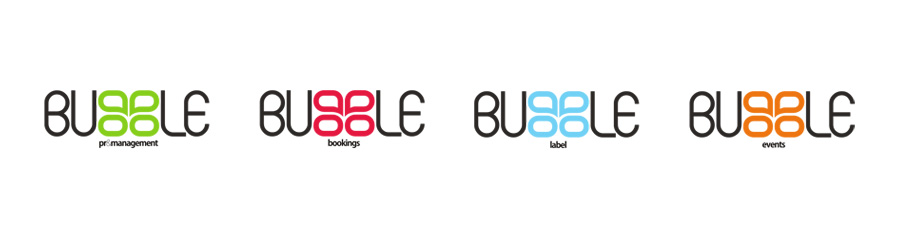 bubble logo variations (PR management, bookings, label and events agency)