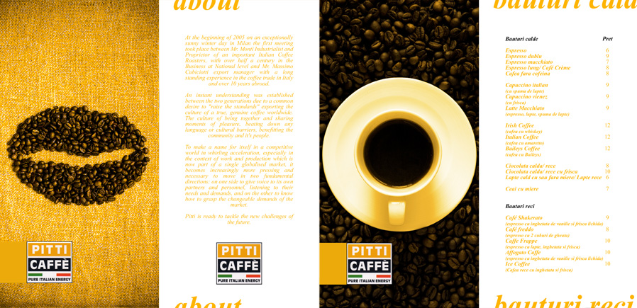 Pitti Caffe menu - pages