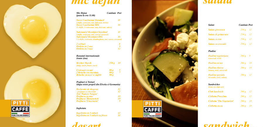 Pitti Caffe menu - pages