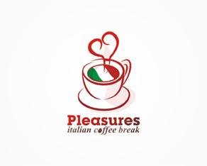 Pleasures, Romanian, cafe-bar, Italian, style, logo, logos, logo design by Alex Tass