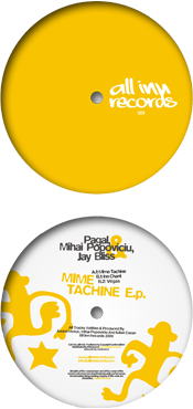 all inn records 001 release - pagal, mihai popoviciu, jay bliss - mime tachine ep - vinyl label design