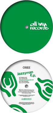 all inn records 002 release - obee - jazzyman ep - vinyl label design