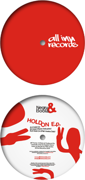 all inn records 003 release - negru and boola - hold on ep - vinyl label design