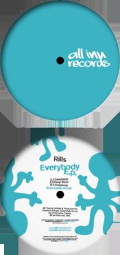 all inn records 005 release - rills - everybody ep - vinyl label design