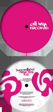 all inn records 009 release - summed & dot - new era ep - vinyl label design