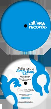 all inn records 010 release - sailor mood - jareth balls ep - vinyl label design