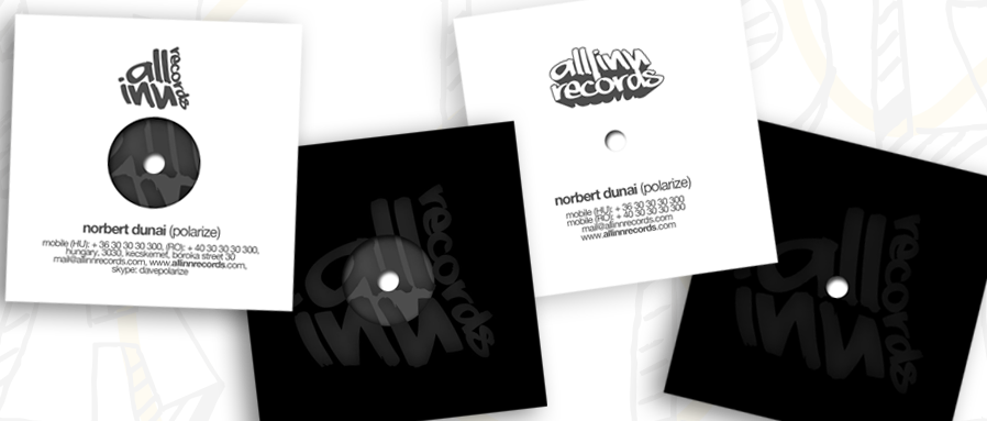 all inn records label - business cards design