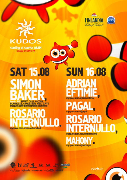 kudos beach flyer 15-16 august - simon baker, rosario internullo, pagal, adrian eftimie