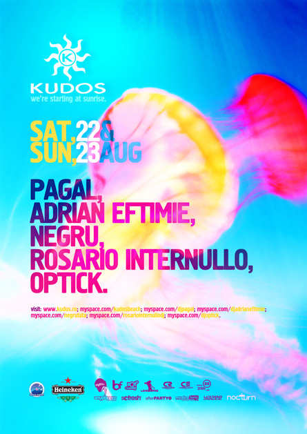 kudos beach flyer - 22-23 august - pagal, adrian eftimie, negru, rosario, internullo, optick
