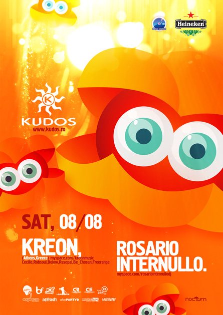 kudos beach flyer & poster - 08 august - kreon, rosario internullo