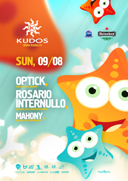 kudos beach flyer & poster - 09 august - optick, rosario internullo, mahony